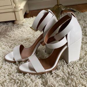 White Open Toe Ankle Strap Heels NWOT